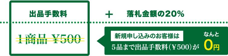 新規申し込みのお客様は5品まで出品手数料(¥500)が0円